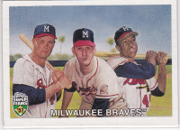 2002 Topps Super Teams #42 Spahn/Mathews/Aaron front image
