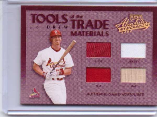 2002 Absolute Memorabilia Tools of the Trade Materials #91 J.D. Drew Quad