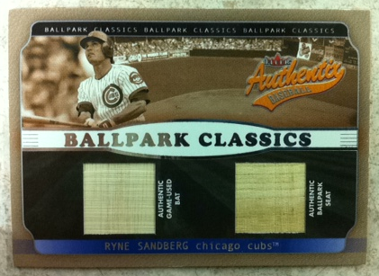 2002 Fleer Authentix Ballpark Classics Memorabilia Gold #RS Ryne Sandberg Bat/Seat