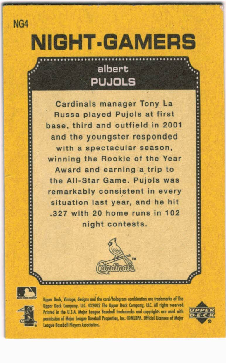 2002 Upper Deck Vintage Night Gamers #NG4 Albert Pujols back image