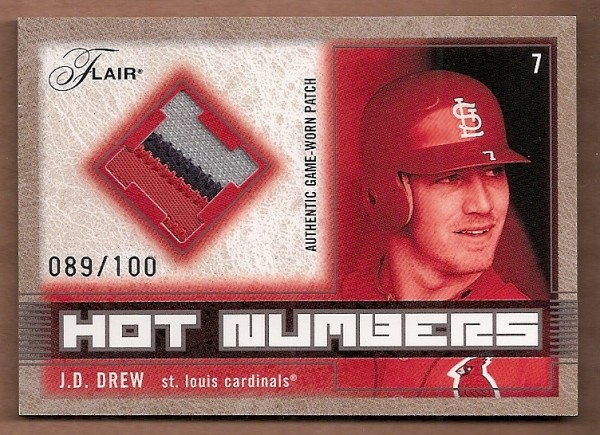 2003 Flair Hot Numbers Patch #JD J.D. Drew