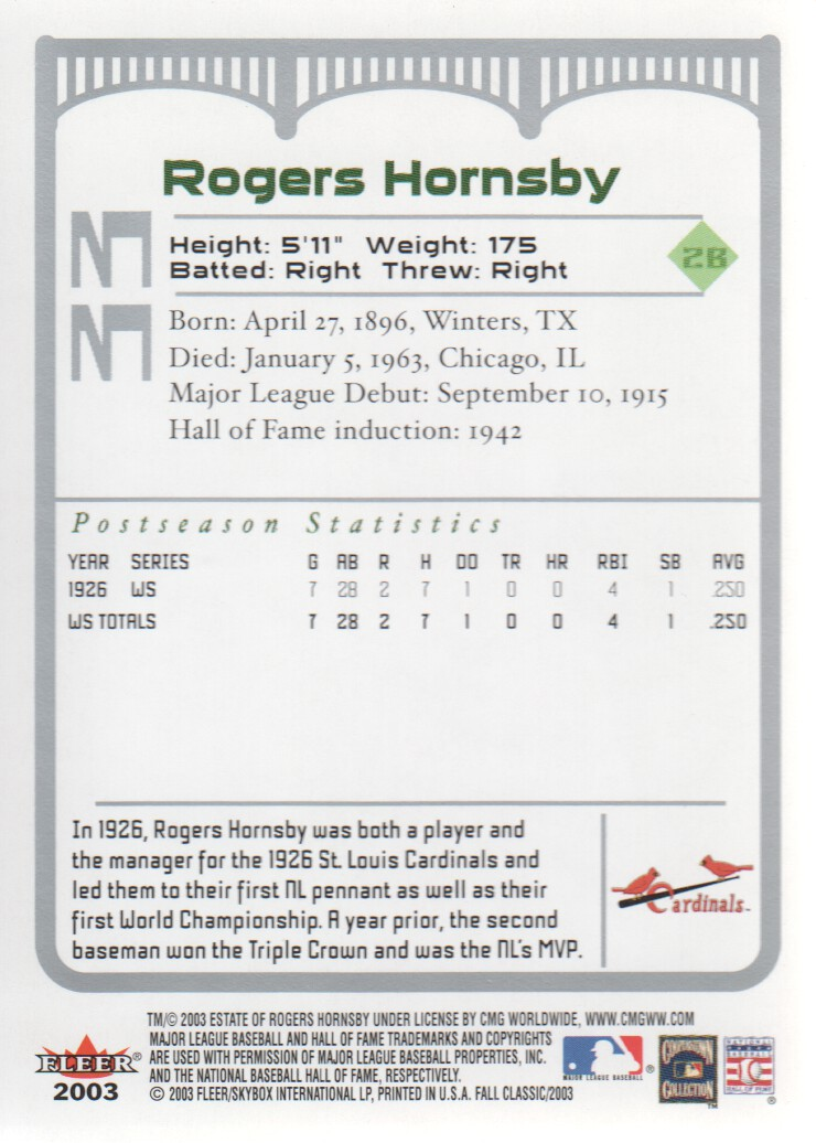 2003 Fleer Fall Classics #33A Rogers Hornsby Cards back image