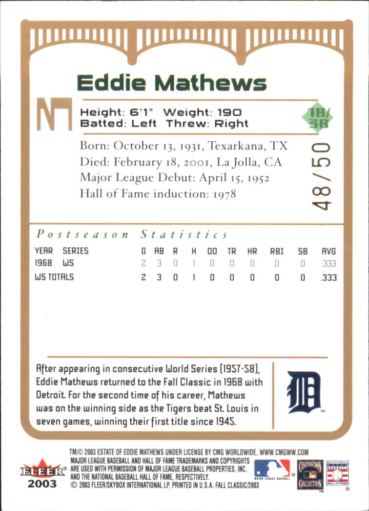 2003 Fleer Fall Classics Championship Gold #3B Eddie Mathews Tigers back image