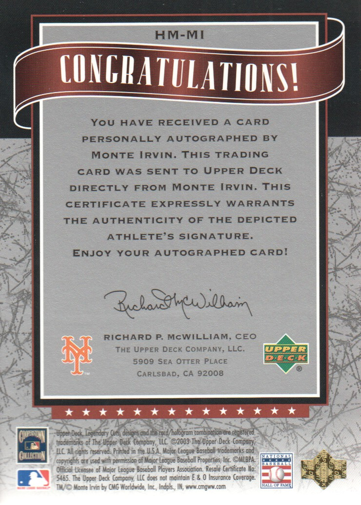 2003 SP Legendary Cuts Hall Marks Autographs #MI1 Monte Irvin Black/85 back image