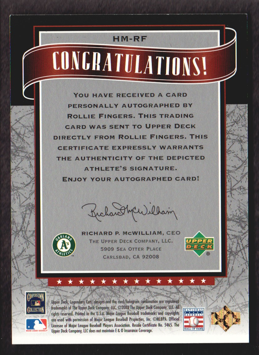 2003 SP Legendary Cuts Hall Marks Autographs #RF2 Rollie Fingers Blue/15 back image