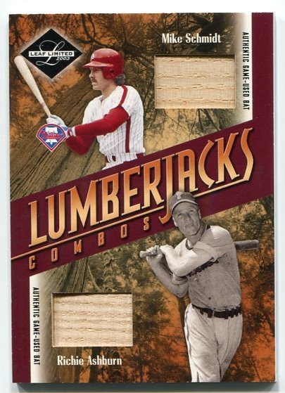 2003 Leaf Limited Lumberjacks Bat #42 Mike Schmidt/Richie Ashburn/25