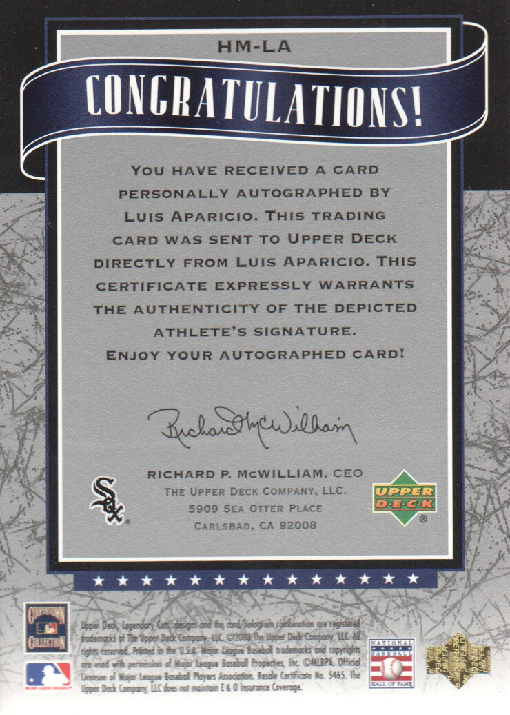 2003 SP Legendary Cuts Hall Marks Autographs Blue #LA Luis Aparicio back image