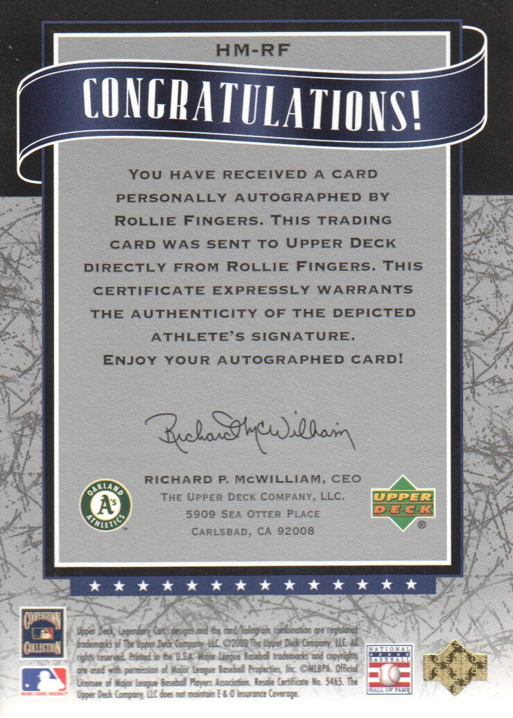 2003 SP Legendary Cuts Hall Marks Autographs Blue #RF Rollie Fingers back image