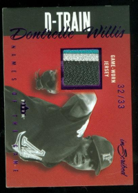 2004 Fleer InScribed Names of the Game Material Purple #DW Dontrelle Willis Patch front image