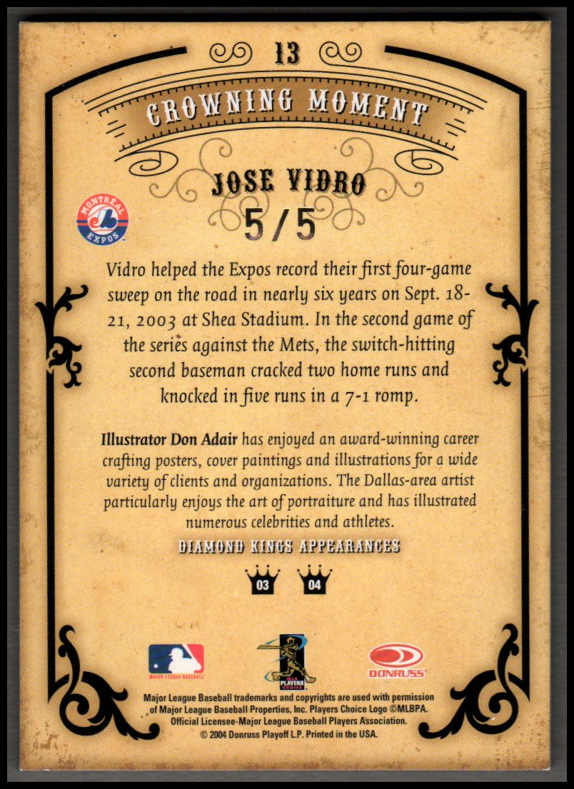 2004 Diamond Kings DK Signatures Framed Gold #13 Jose Vidro/5 back image
