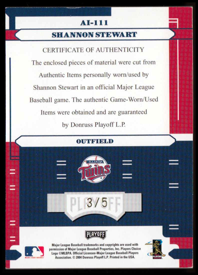 2004 Absolute Memorabilia Absolutely Ink Combo Material PS #111 S.Stewart Bat-Jsy/5 back image