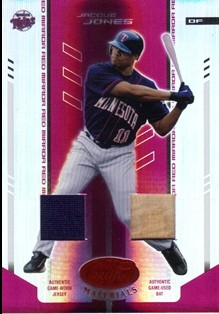 2004 Leaf Certified Materials Mirror Combo Red #79 Jacque Jones Bat-Jsy
