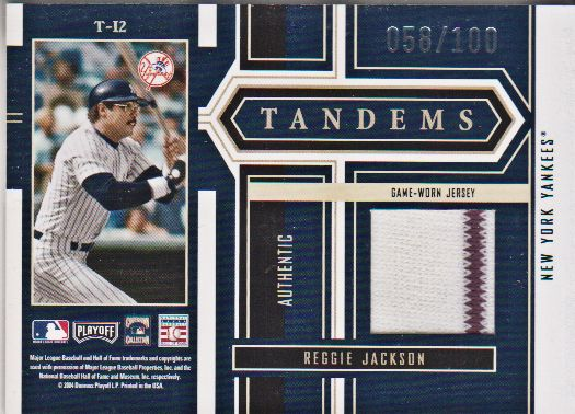 2004 Playoff Honors Tandem Material #12 Willie McCovey Jsy/Reggie Jackson Jsy/100 back image