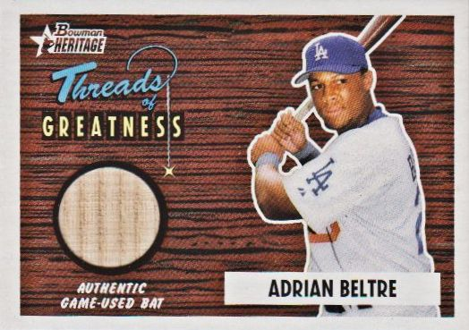 2004 Bowman Heritage Threads of Greatness #AB Adrian Beltre Bat C