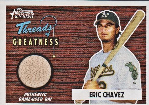 2004 Bowman Heritage Threads of Greatness #EC Eric Chavez Bat D