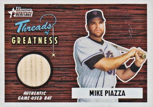 2004 Bowman Heritage Threads of Greatness #MP Mike Piazza Bat D
