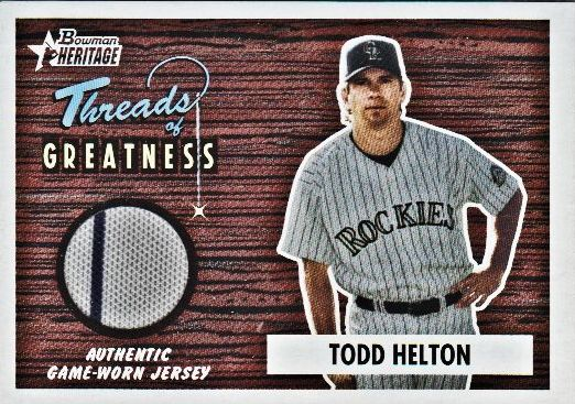 2004 Bowman Heritage Threads of Greatness #TH Todd Helton Jsy D