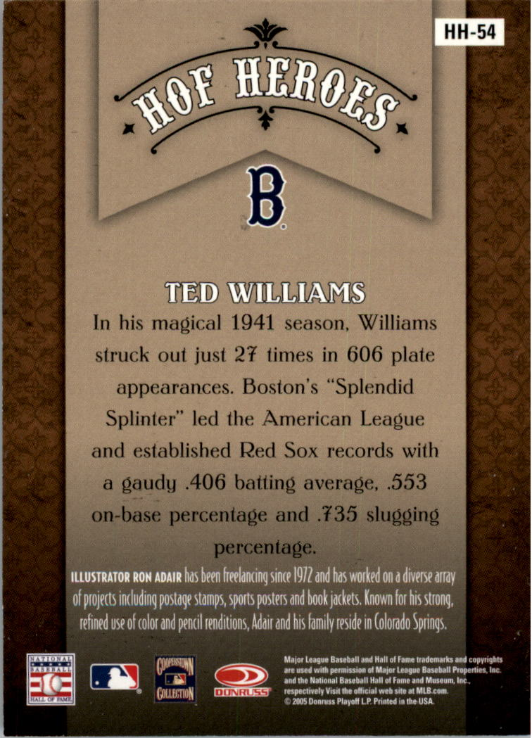 2005 Diamond Kings HOF Heroes Framed Red #54 Ted Williams back image