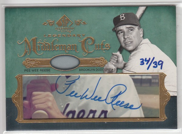 2005 SP Legendary Cuts Middlemen Cuts #PW Pee Wee Reese/39