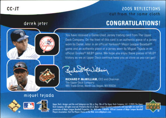 2005 Reflections Cut From the Same Cloth Dual Jersey Blue #JT Derek Jeter/Miguel Tejada back image