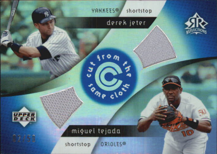 2005 Reflections Cut From the Same Cloth Dual Jersey Blue #JT Derek Jeter/Miguel Tejada