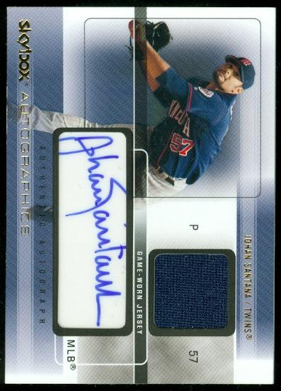 2005 SkyBox Autographics Signatures Game Jersey Gold #JS Johan Santana