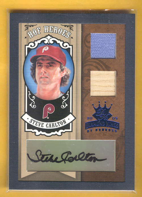 2005 Diamond Kings HOF Heroes Signature Materials Framed Blue #67 Steve Carlton Bat-Jsy/25