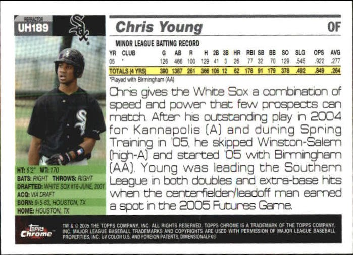 2005 Topps Chrome Update Refractors #189 Chris B. Young FY back image