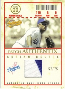 2005 Fleer Authentix Patch General Admission #AB Adrian Beltre
