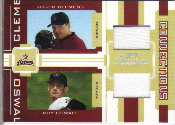 2005 Playoff Prestige Connections Material Dual Jersey #6 Roger Clemens/Roy Oswalt/250