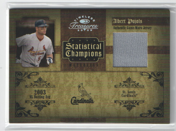 2005 Timeless Treasures Statistical Champions Materials Year #5 Albert Pujols Jsy/100