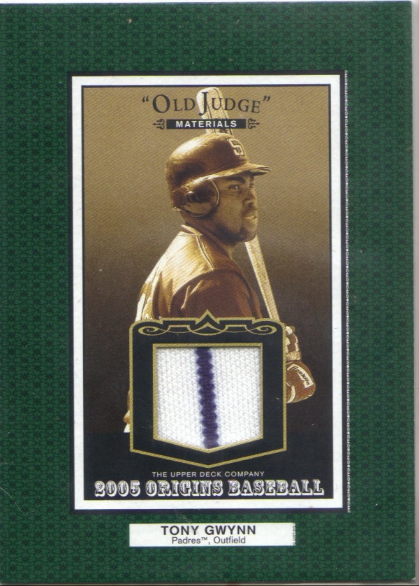 2005 Origins Old Judge Materials Jersey #TG Tony Gwynn SP
