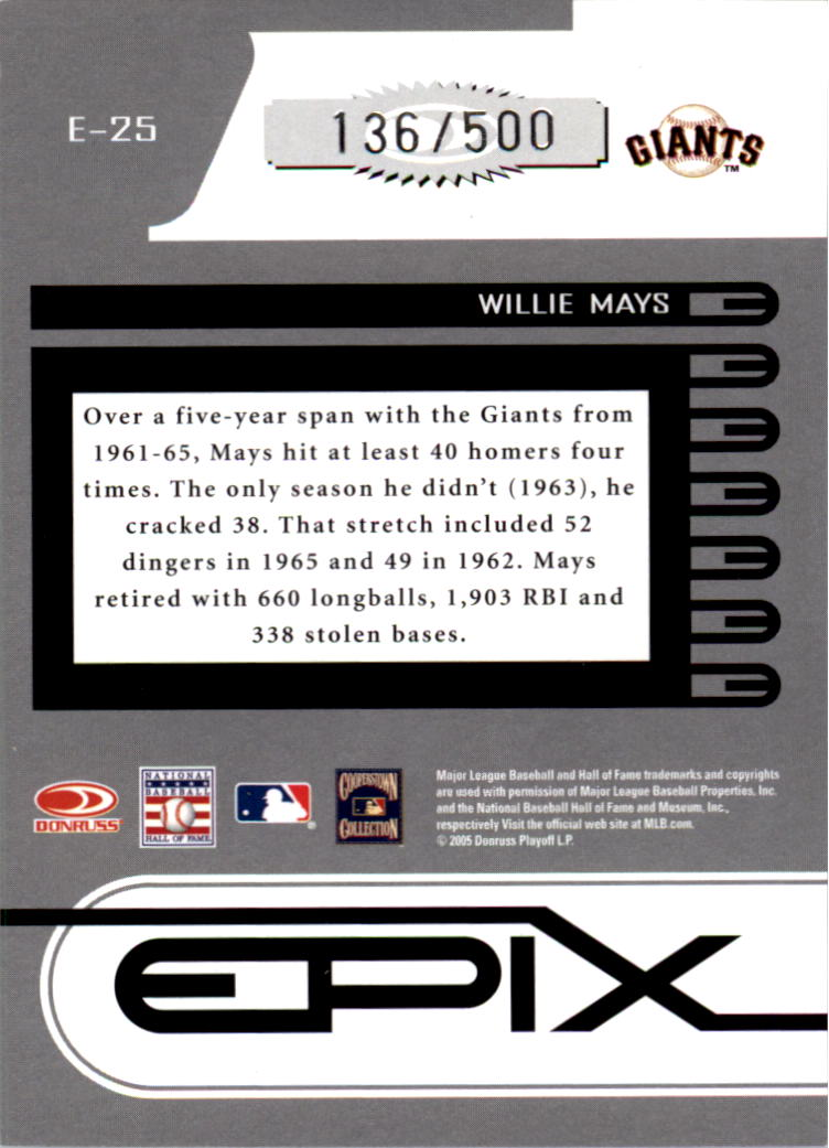 2005 Zenith Epix Blue Play #25 Willie Mays back image