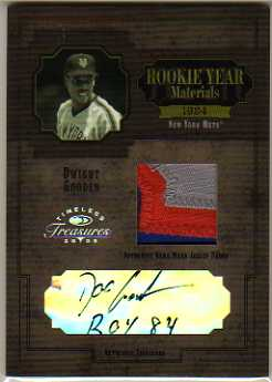 2005 Timeless Treasures Rookie Year Materials Signature Prime #24 Dwight Gooden Jsy/5