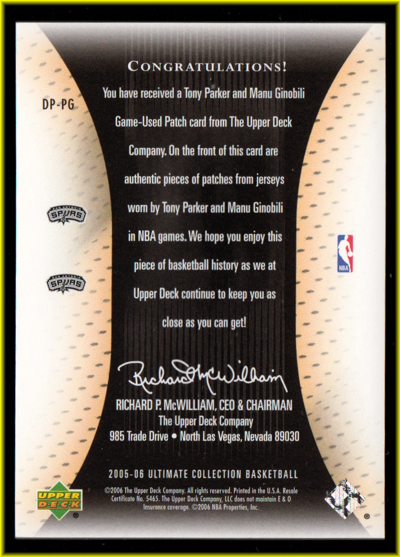 2005-06 Ultimate Collection Patches Dual #DPPG Tony Parker/Manu Ginobili back image