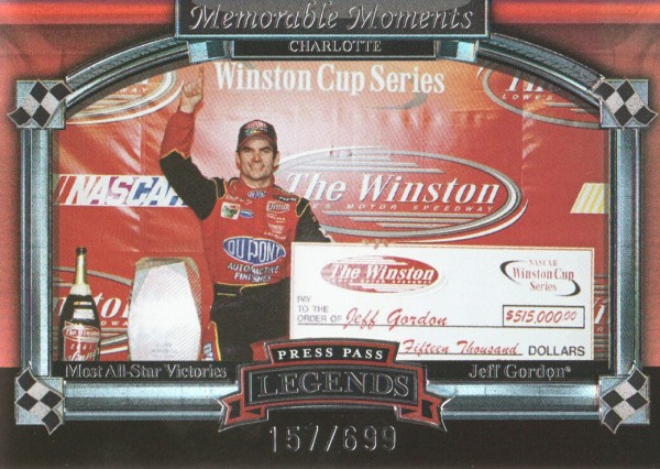 2006 Press Pass Legends Memorable Moments Silver #MM3 Jeff Gordon Charlotte
