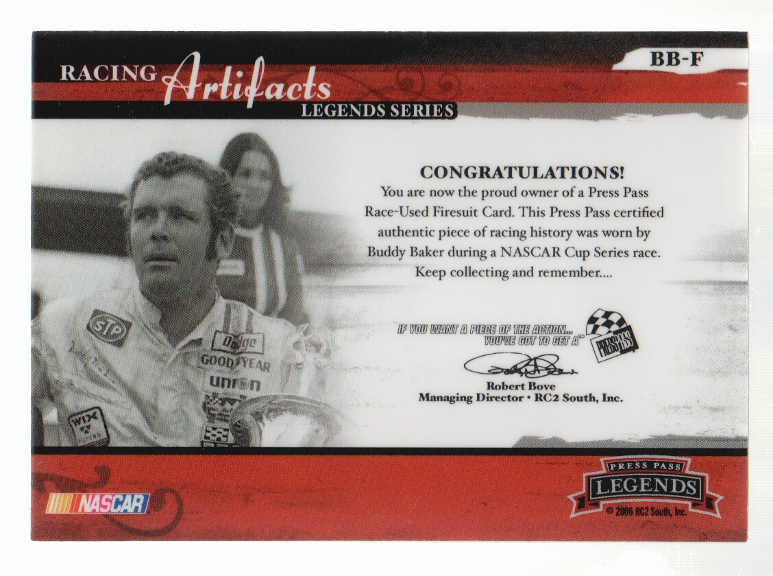 2006 Press Pass Legends Racing Artifacts Firesuit Bronze #BBF Buddy Baker back image