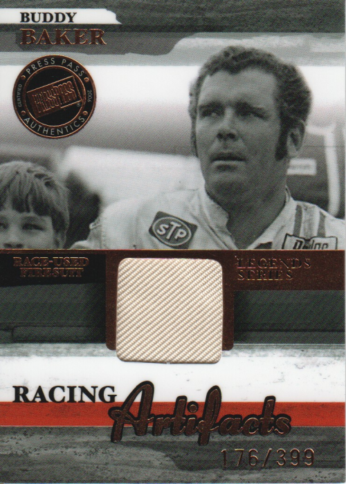 2006 Press Pass Legends Racing Artifacts Firesuit Bronze #BBF Buddy Baker