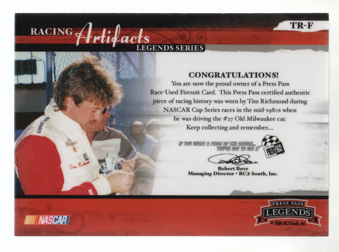 2006 Press Pass Legends Racing Artifacts Firesuit Bronze #TRF Tim Richmond back image