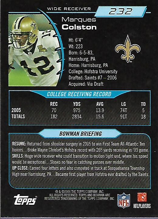 2006 Bowman Gold #232 Marques Colston back image
