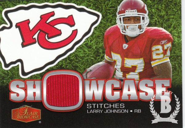 2006 Flair Showcase Showcase Stitches Jersey #SHSLJ Larry Johnson