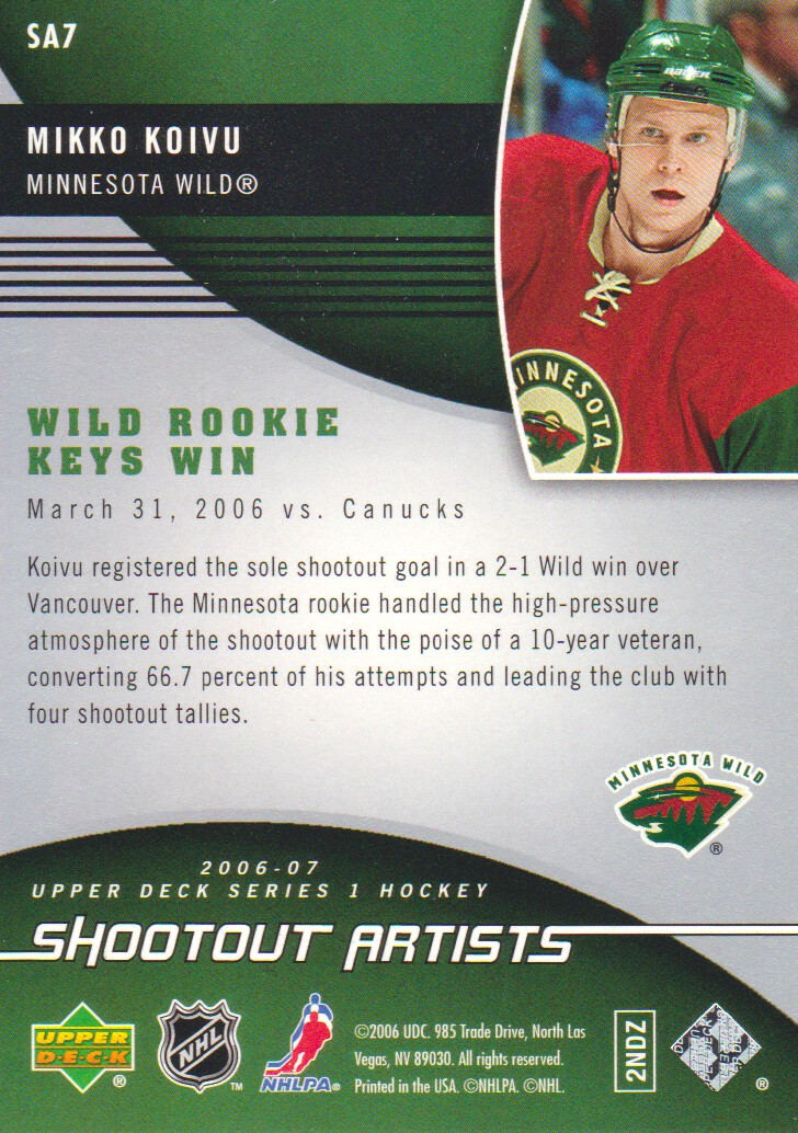 2006-07 Upper Deck Shootout Artists #SA7 Mikko Koivu back image