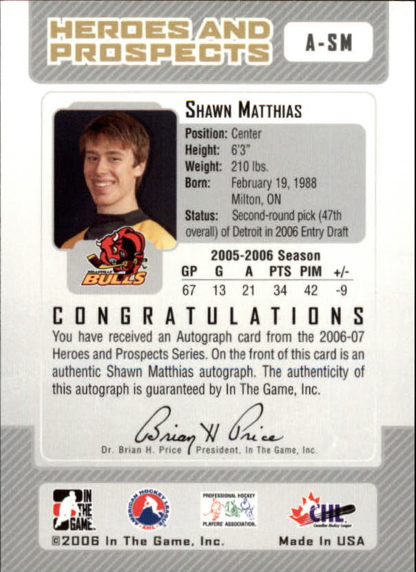 2006-07 ITG Heroes and Prospects Autographs #ASM Shawn Matthais back image