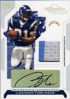 2006 Playoff NFL Playoffs Jersey Signature Proofs Silver #33 LaDainian Tomlinson/10