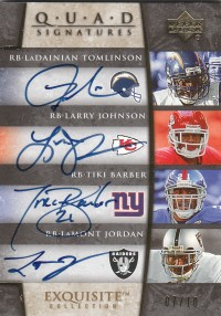 2006 Exquisite Collection Signature Quads #TJBJ LaDainian Tomlinson/Larry Johnson/Tiki Barber/LaMont Jordan front image