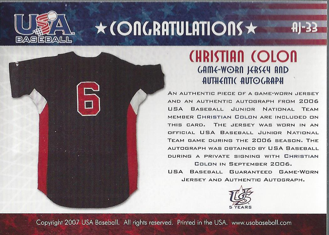 2006-07 USA Baseball Signatures Jersey Black #33 Christian Colon back image