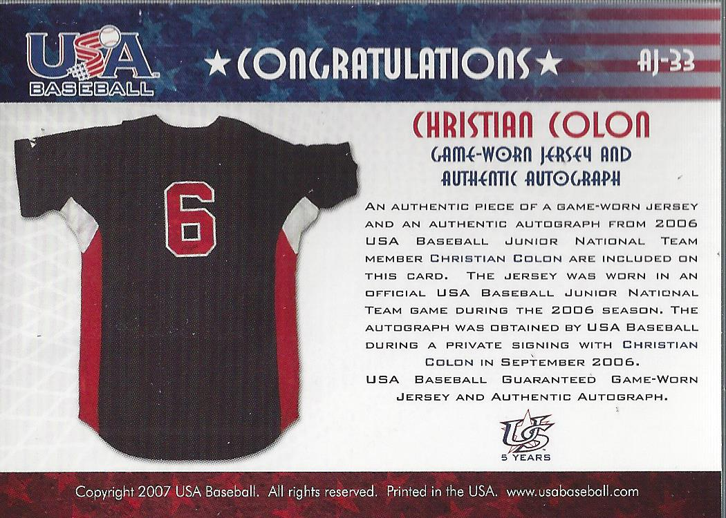 2006-07 USA Baseball Signatures Jersey Blue #33 Christian Colon back image