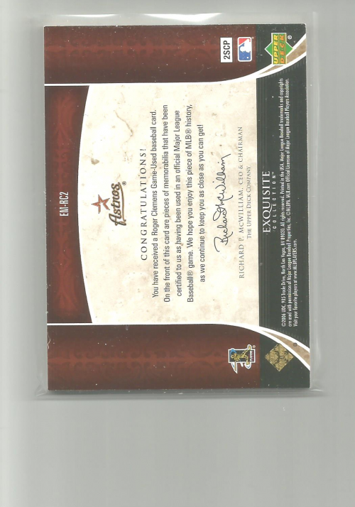 2006 Exquisite Collection Patch #RC2 Roger Clemens back image