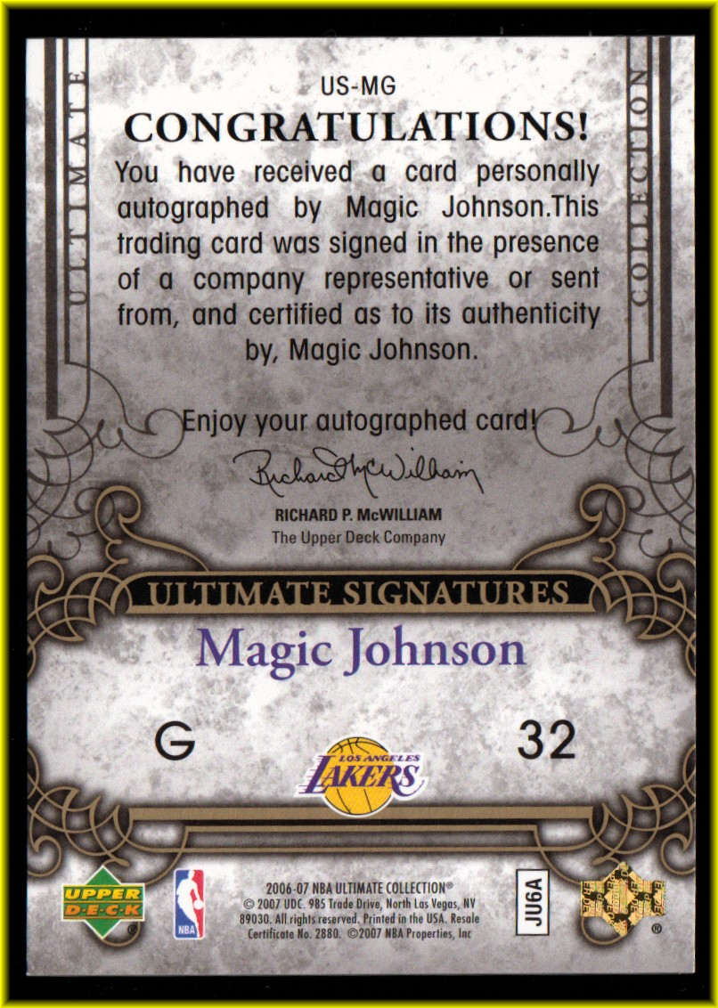 2006-07 Ultimate Collection Signatures #USMG Magic Johnson back image
