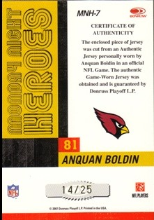 2007 Donruss Classics Monday Night Heroes Jerseys Prime #7 Anquan Boldin